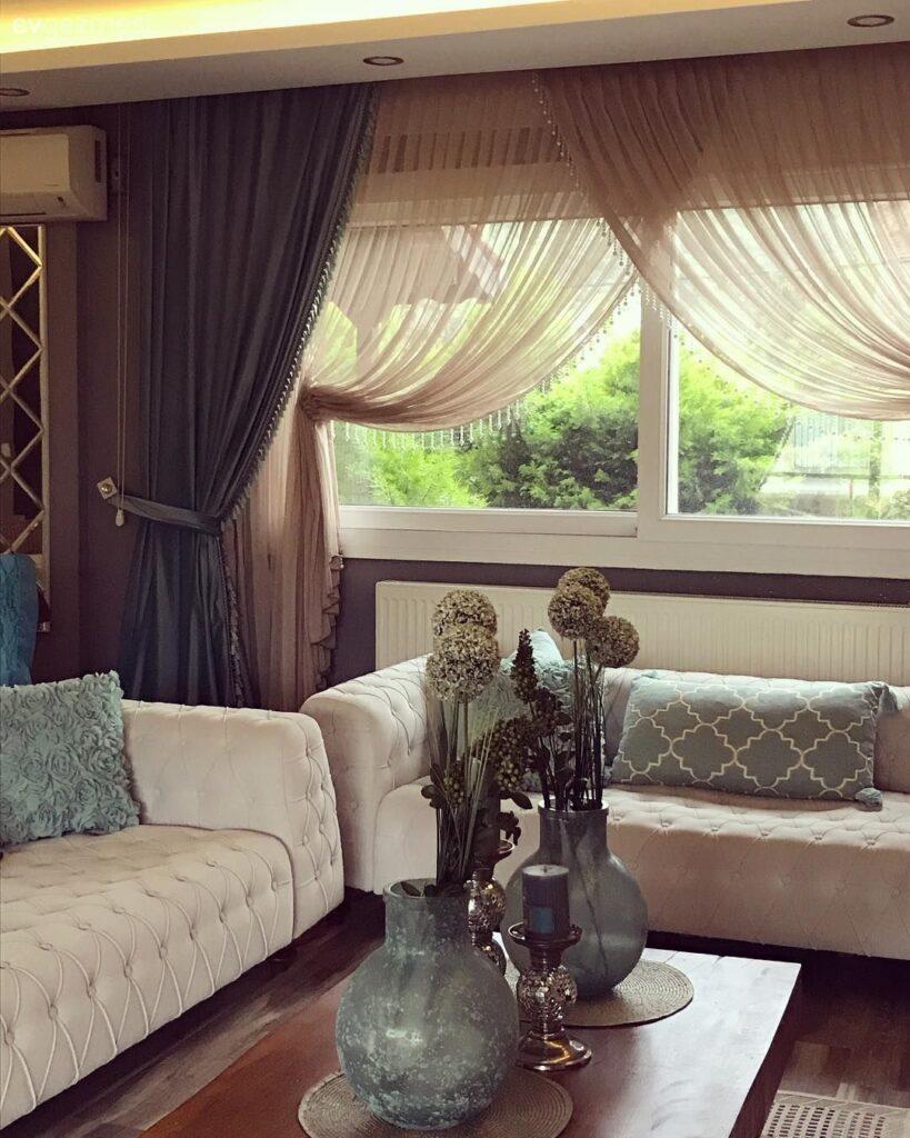 modern ev dekorasyonu için perde modelleri